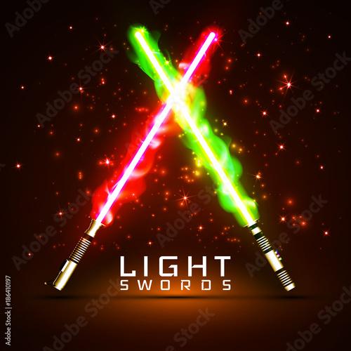 Fotografie, Obraz neon light swords. crossed light, fire, flash and sparkles