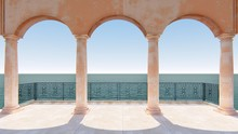 3d Render Sea View Roman Arch Style Classic Balcony