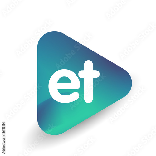 Photo  Letter ET logo in triangle shape and colorful background, letter combination logo design for business and company identity
