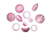 Sliced Red Onion Isolated On W...