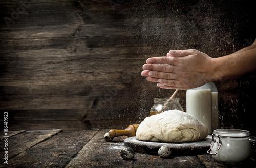 Deurstickers Bakkerij Preparation of the dough from fresh ingredients.