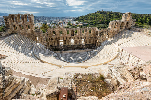 Foto op Canvas Athene Ruins of Odeon of Herodes Atticus in the Acropolis of Athens, Attica, Greece