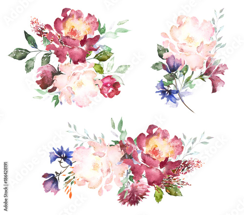 Set watercolor flowers hand painted floral illustration bouquet of set watercolor flowers hand painted floral illustration bouquet of flowers pink rose leaves altavistaventures Image collections