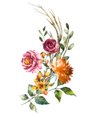Obraz Watercolor flowers. Hand painted floral illustration. Bouquet of flowers rose