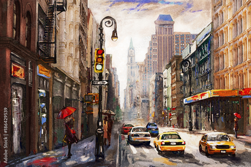 Fototapety, obrazy: oil painting on canvas, street view of New York, man and woman, yellow taxi,  modern Artwork,  American city, illustration New York