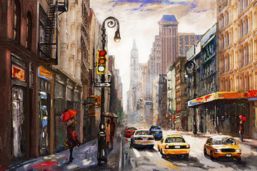 Fototapeta Nowy York oil painting on canvas, street view of New York, man and woman, yellow taxi, modern Artwork, American city, illustration New York
