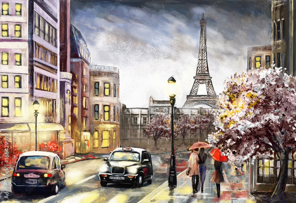 Obraz oil painting on canvas, street view of Paris. Artwork. eiffel tower . people under a red umbrella. Tree. France fototapeta, plakat