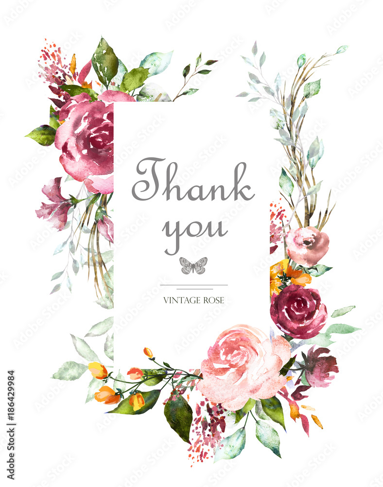 Fototapeta Vintage Card, Watercolor wedding invitation design with pink roses, bud and leaves. flower, background with floral elements for text, watercolor background. Template.  frame