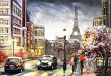 Fototapeta Fototapety Paryż - oil painting on canvas, street view of Paris. Artwork. eiffel tower . people under a red umbrella. Tree. France