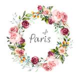 ręcznie malowane karty, projekt zaproszenia akwarela z różowych róż, pączek, liście. kwiat, tło z kwiatowymi elementami dla tekstu, akwarela ilustracja. Vintage szablon. wieniec, okrągła rama - 186429938