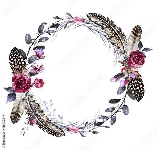 szablon-vintage-wieniec-z-kwiatami-i-piorami-wzor-kwiatowy