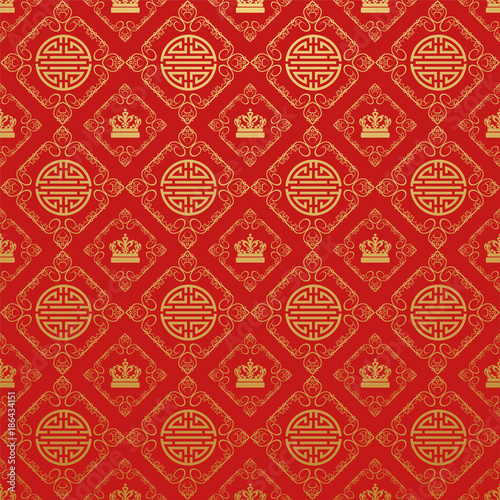 Stampa su Tela  Red background. Chinese and Japanese style. Vector
