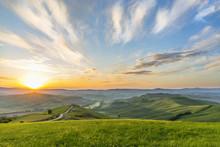 Sunrise On A Meadow In A Rural Italian Landscape