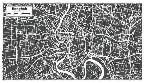 Fototapeta Bangkok Thailand City Map in Retro Style. Outline Map.