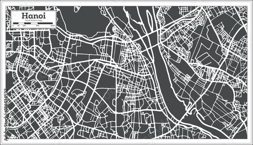 Photo Hanoi Vietnam City Map in Retro Style. Outline Map.
