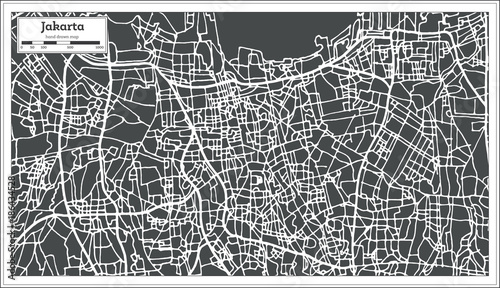 Fotografía Jakarta Indonesia City Map in Retro Style. Outline Map.