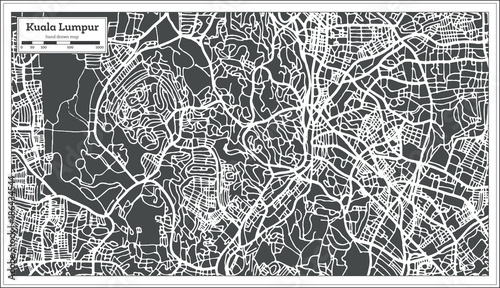 Kuala Lumpur Malaysia City Map in Retro Style. Outline Map. Wallpaper Mural