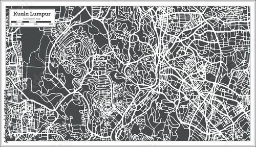 Obraz na plátně Kuala Lumpur Malaysia City Map in Retro Style. Outline Map.