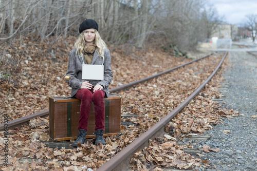 Fotografia, Obraz  Mädchen, Koffer, Reise