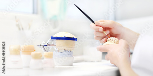 Valokuva  Dental technician hands working with tooth dentures in his laboratory, dental pr