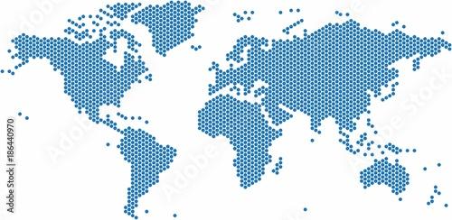 Fotobehang Wereldkaart Blue dots world map on white background, vector illustration.