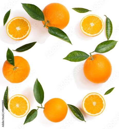 Citrus fruit background - oranges. Wall mural