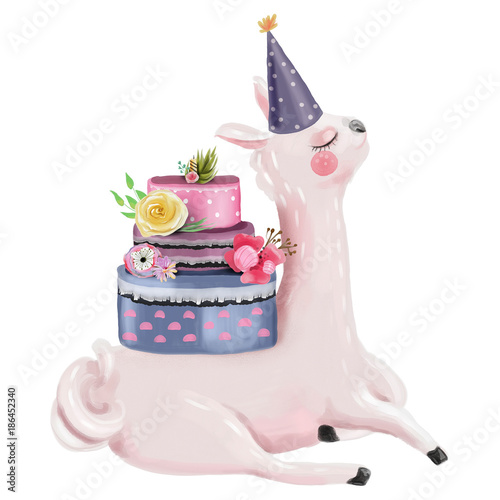 Cute watercolor dreaming llama with beautiful birthday cake decorated with flowers and hat