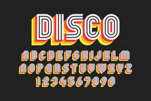 80's Retro Font, Disco Style, ...