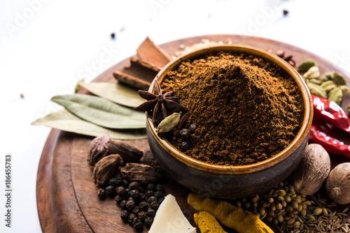 Photo  Colourful spices for Garam Masala