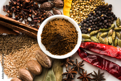 In de dag Kruiden Colourful spices for Garam Masala. Food ingredients for garam masala, indian spice mix with Powder. Selective focus
