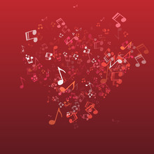 Musical Background With Hearts For Valentine's Day Design