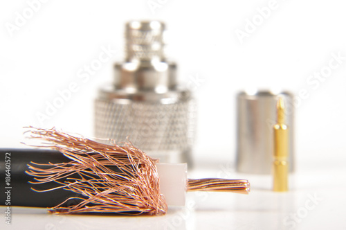 Fotografía  Coaxial cable connector assembly accessories isolated on the white background