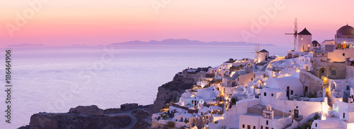 Garden Poster Light pink The famous sunset at Santorini in Oia village