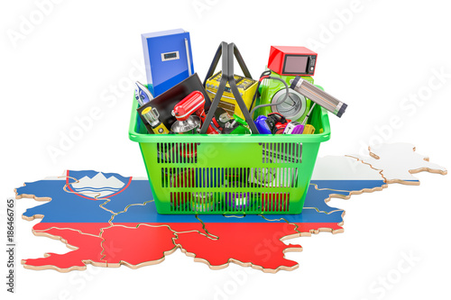 Poster Map of Slovenia with shopping basket full of home and kitchen appliances, 3D rendering