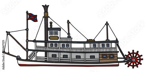 Valokuvatapetti The classic steam paddle riverboat