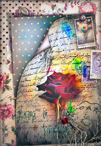 Foto op Aluminium Imagination Sfondo vecchia maniera con rosa rossa e mongolfiera