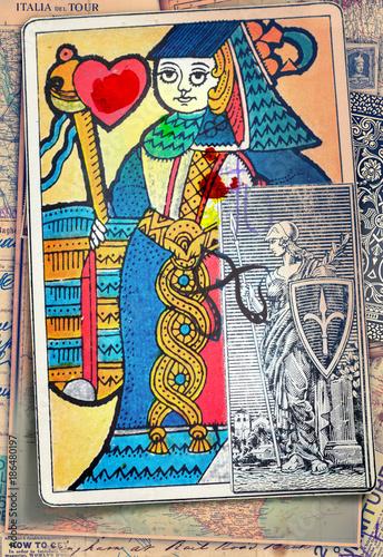 Poster de jardin Imagination Sfondo con vecchie carte e regina di cuori dei tarocchi