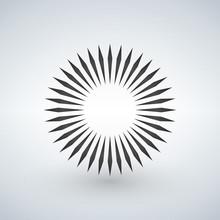 Geometric Circle Element Made Of Radiating Shapes. Abstract Circle Shape.