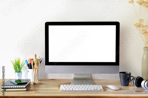 Fototapeta Desk Scene Mockup :  Workspace Desktop computer and office supplies on wood desk. obraz na płótnie
