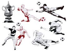 Set Of Football Players. Stock...