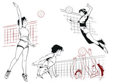 Set Of Volleyball Players. Sto...