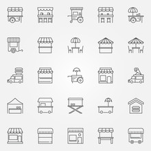 Street Food Outline Icons. Vector Market Stall Symbols