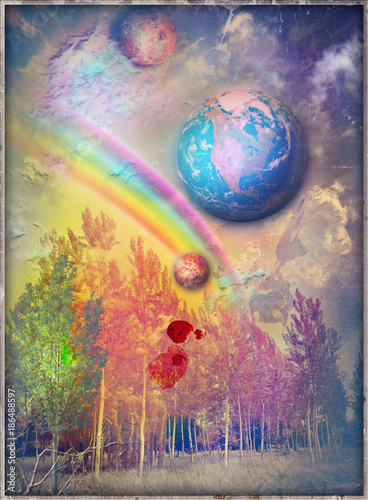 Poster Imagination Bosco delle favole,incantato e surreale con arcobaleno