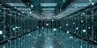 Leinwandbild Motiv Server room center exchanging cyber datas 3D rendering