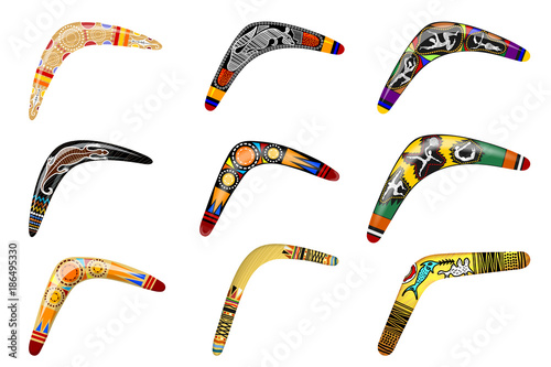 Photo Set of native boomerangs