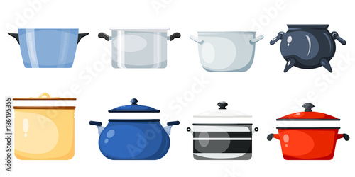 Tablou Canvas Set of kitchen pans in the style of a card