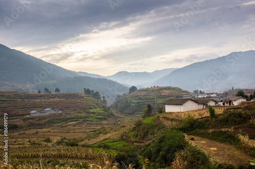 Foto op Plexiglas Zuid Afrika Rural landscape with fields and houses