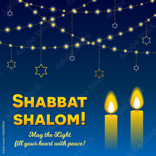 Shabbat shalom lettering greeting card vector illustration two shabbat shalom lettering greeting card vector illustration two burning shabbat candles and strings m4hsunfo