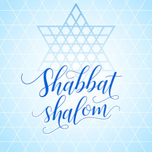 Colorful Shabbat Shalom Greeting Card, Vector Illustration. Jewish Religious Sabbath Congratulations In Hebrew. Abstract Geometric Mosaic Pattern Background. Abstract Blue Background.