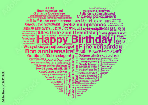 Happy Birthday In Different Languages Wordcloud In Heart Shape